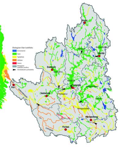 Kokemäenjoen vesistöalue ekologinen luokitus 2013 (SYKE ja ELY:t)