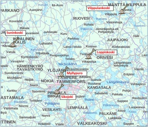 kartta KVVY virtavesitalkookohteet 2016