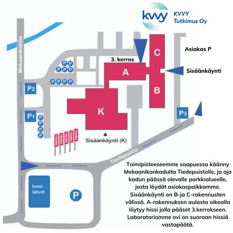 Saapumis-ja parkkiohje KVVY:n Porin laboratorioon