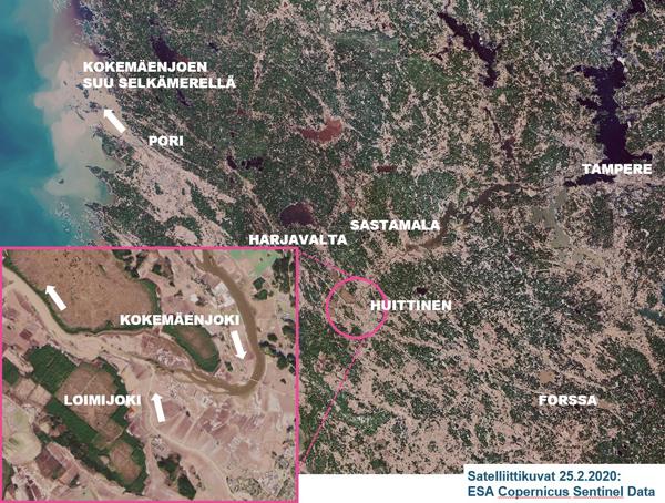Satelliittikuva, jossa näkyy Loimijoen savisamea vesi