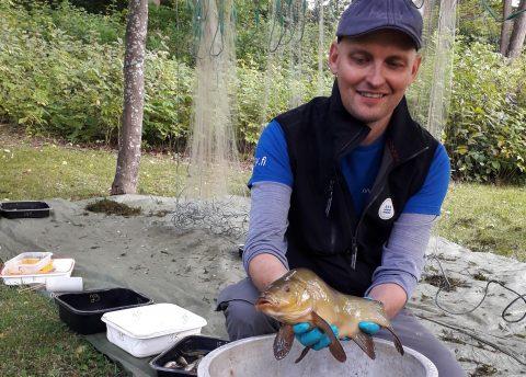 Mies pitää kalaa kädessään