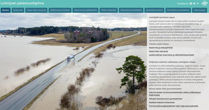 Kuvakaappaus Loimijoen pelastusohjelman aloitussivusta